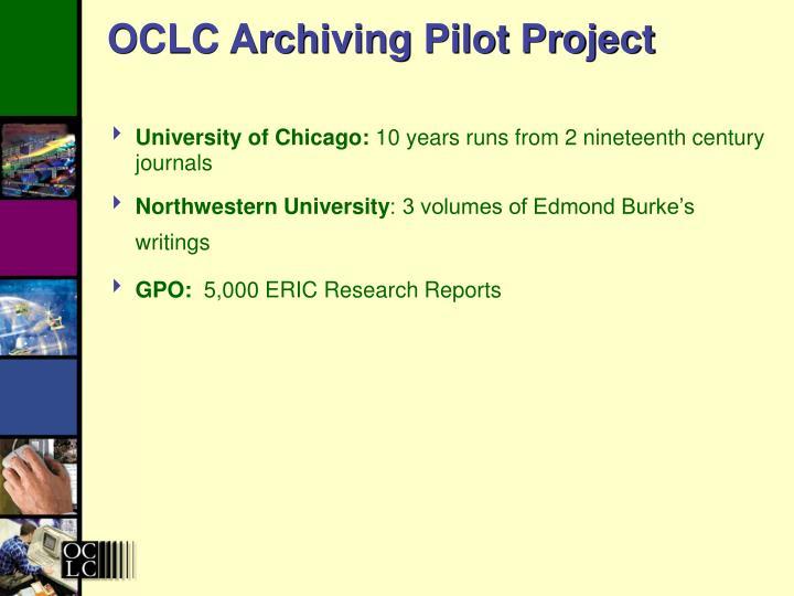 OCLC Archiving Pilot Project