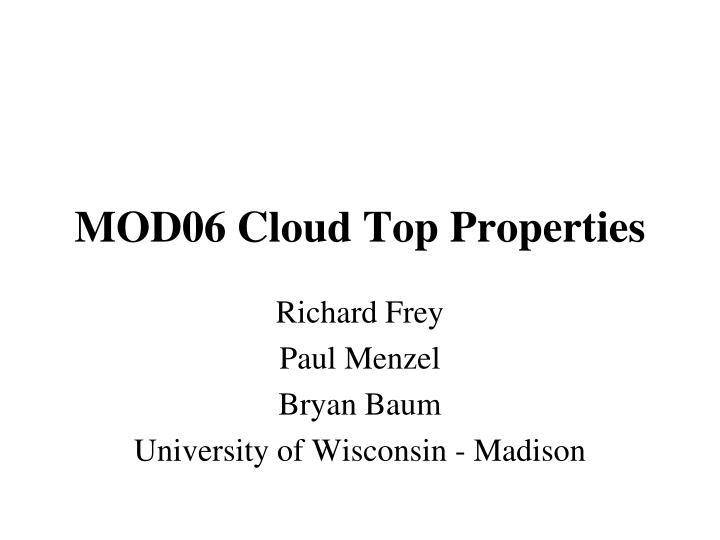 Mod06 cloud top properties