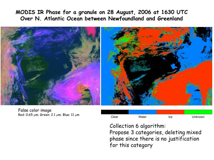 MODIS IR Phase for a granule on 28 August, 2006 at 1630 UTC