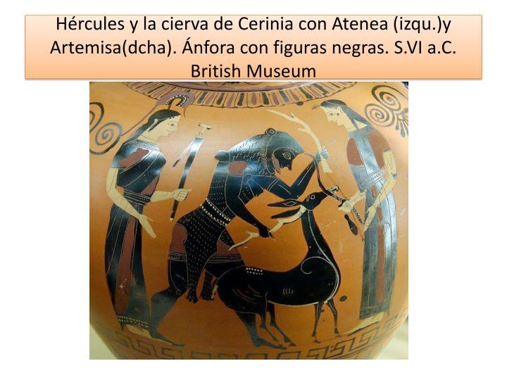Hércules y la cierva de Cerinia con Atenea (