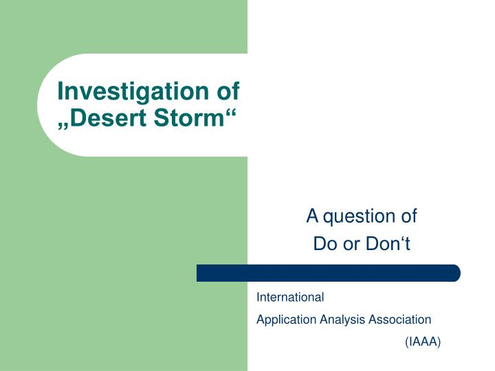 investigation of desert storm n.