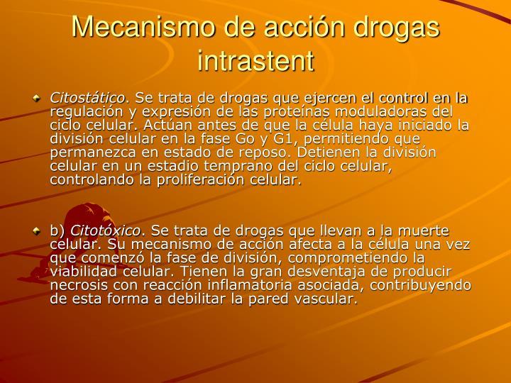 Mecanismo de acción drogas intrastent