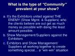 what is the type of community prevalent at your show