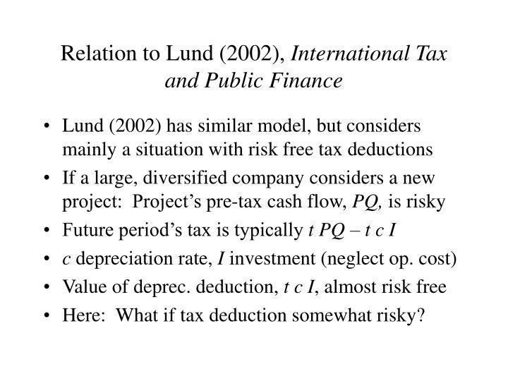 Relation to Lund (2002),