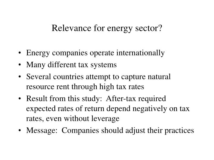 Relevance for energy sector