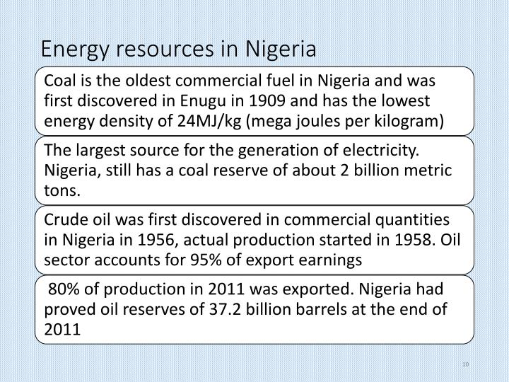 Energy resources in Nigeria