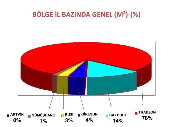 BÖLGE İL BAZINDA GENEL (M²)-(%)