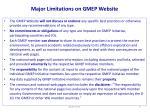 major limitations on gmep website