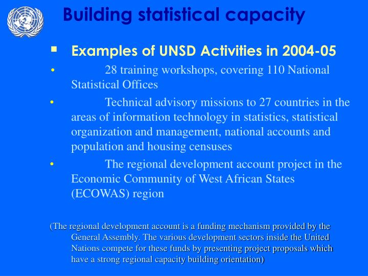 Examples of UNSD Activities in 2004-05