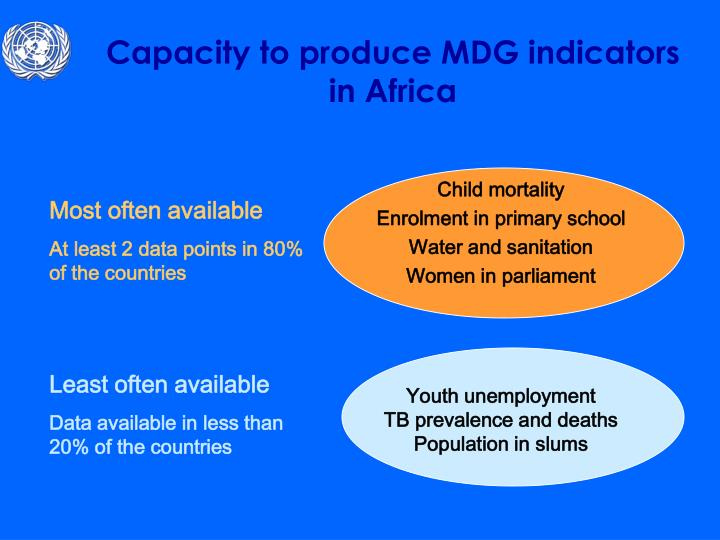 Capacity to produce MDG indicators in Africa