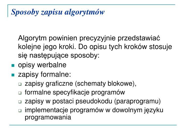 Sposoby zapisu algorytmów