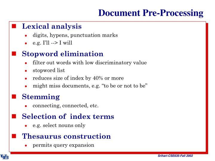 Document pre processing