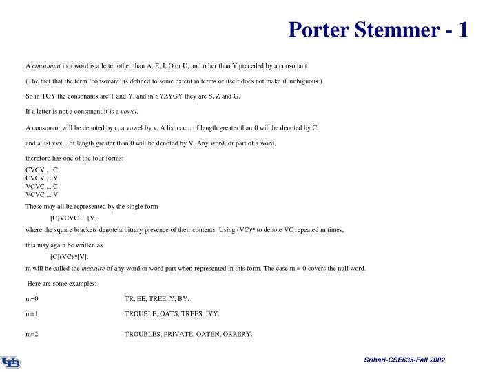 Porter Stemmer - 1