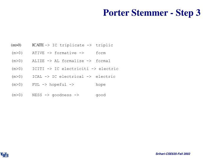 Porter Stemmer - Step 3