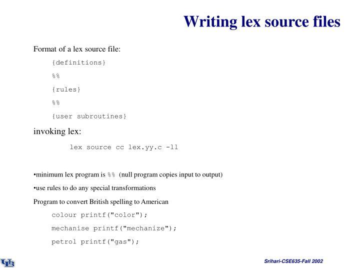 Writing lex source files