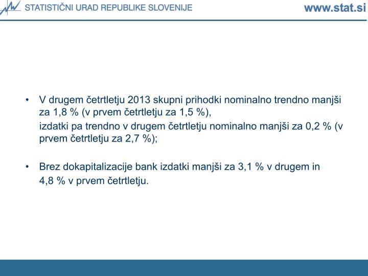V drugem četrtletju 2013 skupni prihodki nominalno trendno manjši za 1,8 % (v prvem četrtletju za 1,5 %),