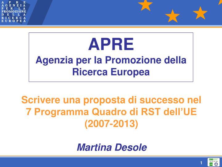 apre agenzia per la promozione della ricerca europea n.