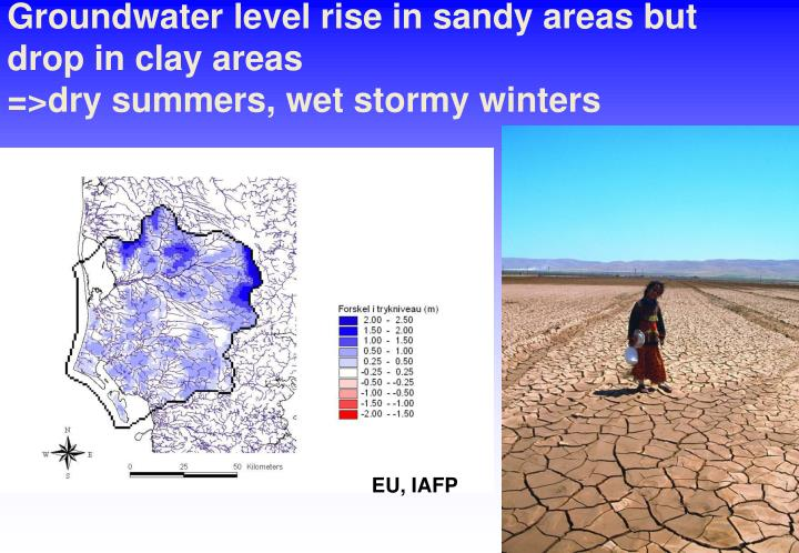 Groundwater level rise in sandy areas but drop in clay areas