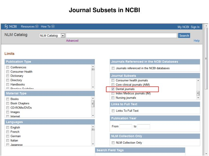 Journal Subsets in NCBI