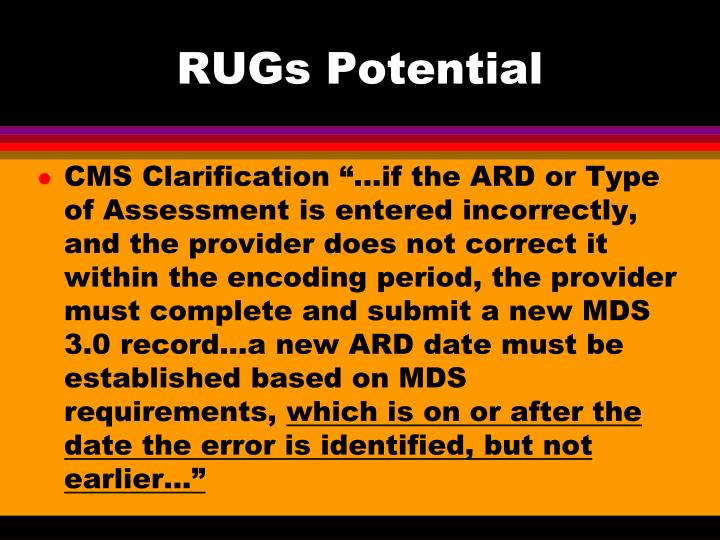 RUGs Potential