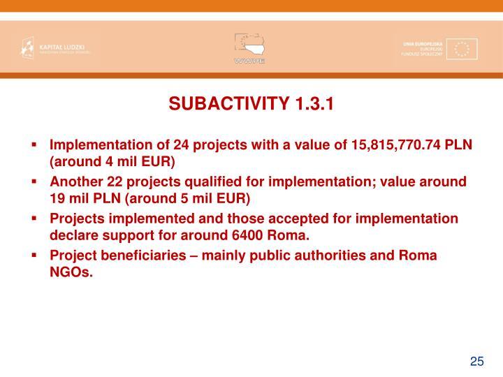 SUBACTIVITY 1.3.1