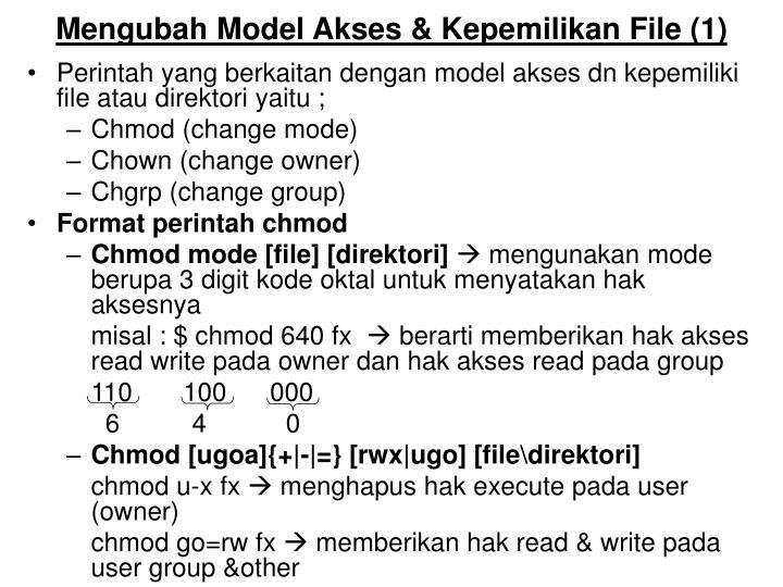 Mengubah model akses kepemilikan file 1