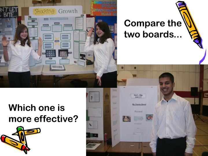 Compare the two boards...