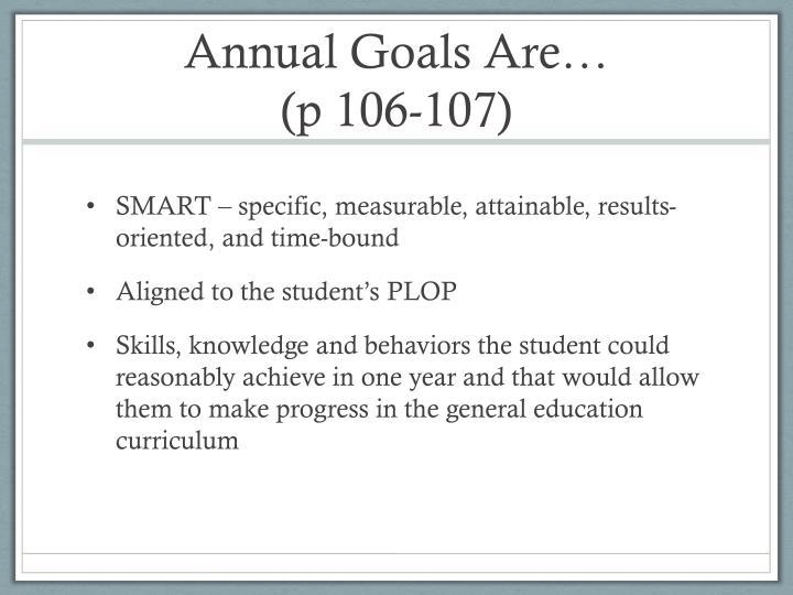 Annual Goals Are…
