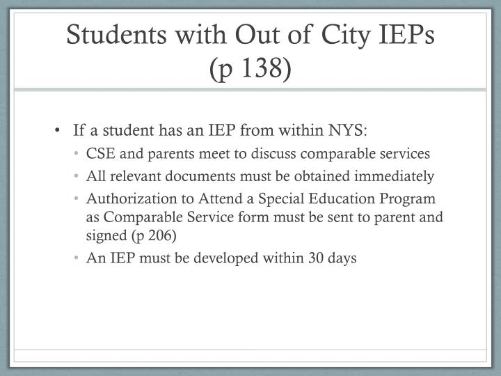 Students with Out of City IEPs