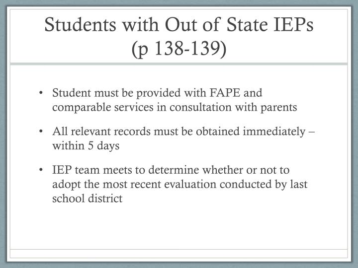 Students with Out of State IEPs
