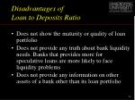 disadvantages of loan to deposits ratio
