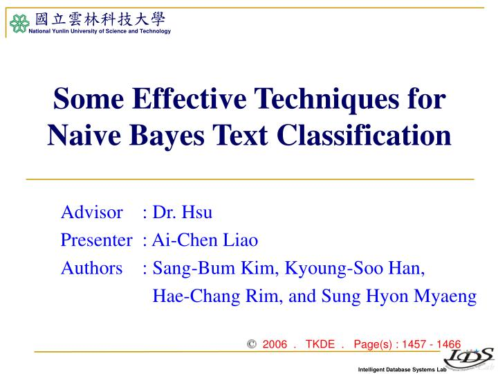 some effective techniques for naive bayes text classification n.