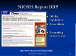 niosh report bbp