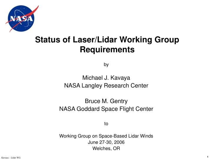 Status of laser lidar working group requirements