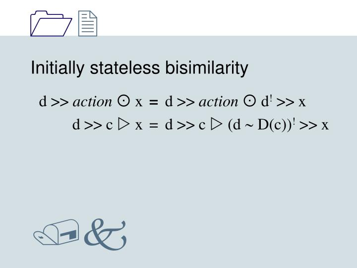 Initially stateless bisimilarity