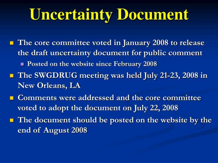 Uncertainty Document