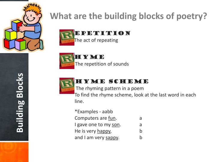 What are the building blocks of poetry?