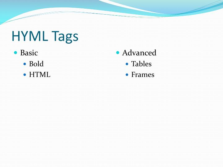Hyml tags