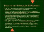 physical and primordial phenomena