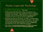 psyche logos and psychology