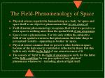 the field phenomenology of space