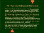 the phenomenological reduction