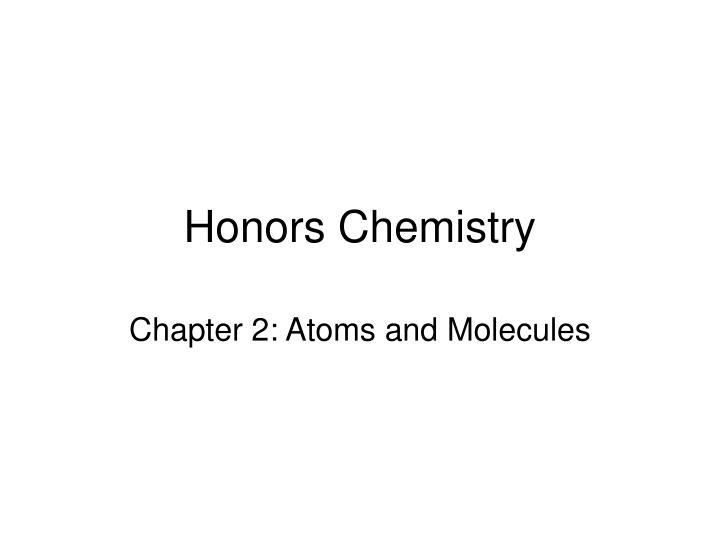 honors chemistry n.