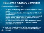 role of the advisory committee