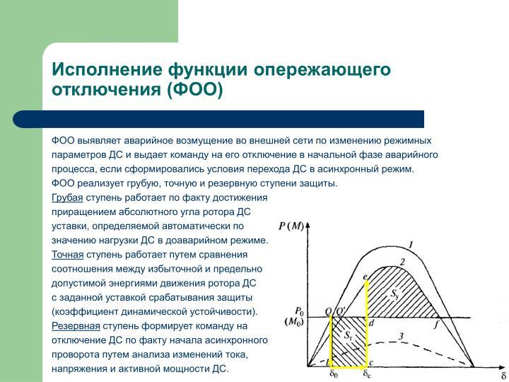Исполнение функции опережающего отключения (ФОО)