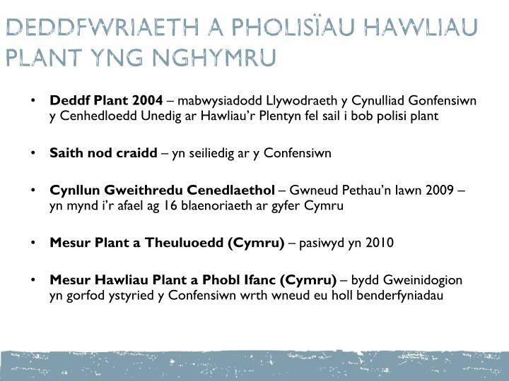 DEDDFWRIAETH A PHOLISÏAU HAWLIAU PLANT YNG NGHYMRU