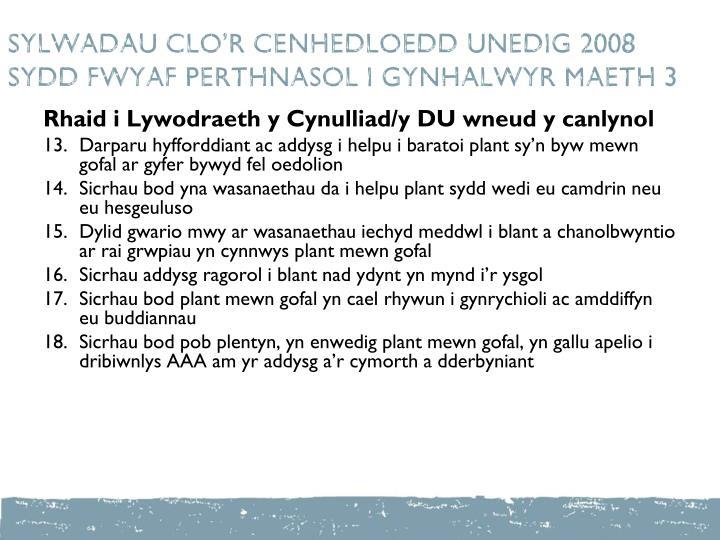 SYLWADAU CLO'R CENHEDLOEDD UNEDIG 2008  SYDD FWYAF PERTHNASOL I GYNHALWYR maeth 3