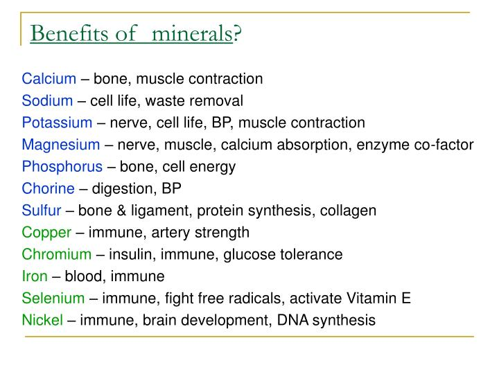 Benefits of  minerals