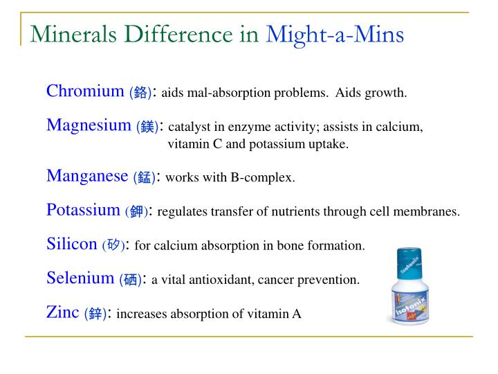 Minerals Difference in