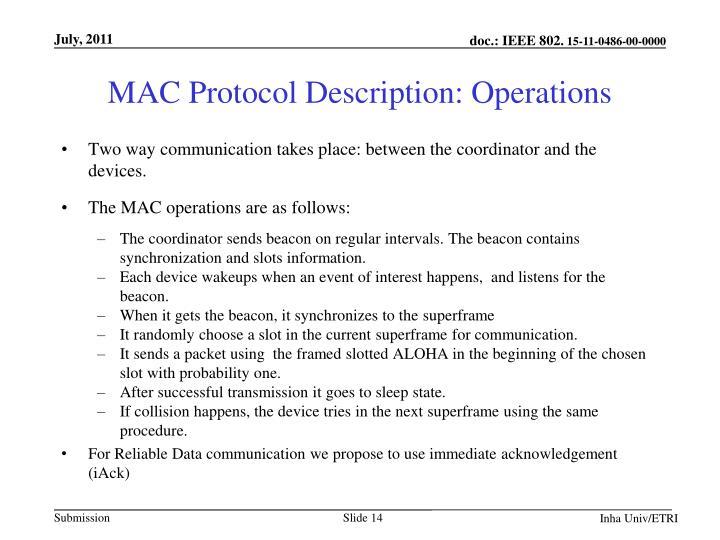 MAC Protocol Description: Operations
